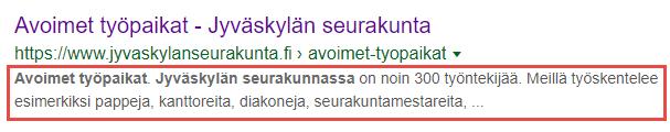 Hur sökmotorn visar sidans beskrivning